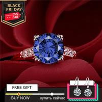 8mm 1.9 carat round cut sapphire Diamond Ring not fake S925 sterling silver wedding proposal anniversary yes i do engagement