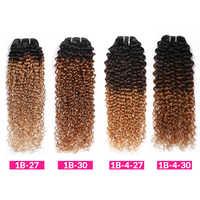 Cabello humano rizado degradado, 1, 3, 4 mechones, 1B, 4, 27, 30, extensiones de cabello rizado, Remy, degradado, brasileño