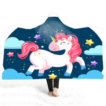 Unicorn Hooded Blanket For Home Travel Picnic Cartoon 3D Printed Plush Wearable Fleece Throw Adults Childs