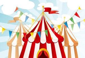 Image 3 - Mehofond sirk arka planında vinil kırmızı çadır Bunting çocuk doğum günü partisi fotoğrafçılık arka plan fotoğraf stüdyosu için özelleştirilmiş