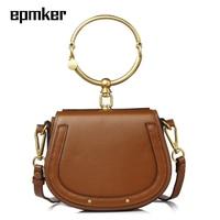 Epmker Genuine Leather Round Ring Saddle Bags for Women 2020 Luxury Handbags Designer Girls Shoulder Purse Clutch Crossbody Bags