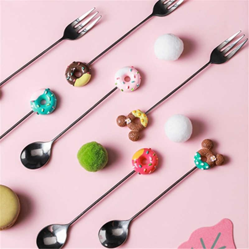 Cuillère fourchette à café fruits en acier inoxydable, couleur bonbon dessin animé Mickey donuts cuillère à thé fournitures de cuisine vaisselle