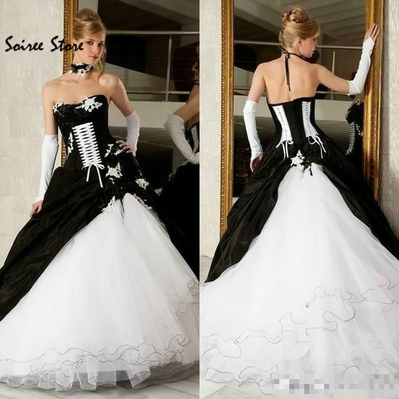 Gothic Black And White Wedding Dress Punk Organza Ball Gown Wedding Gown Corset Puffy Royal Country Victorian Weddng Gown 2018 Wedding Dresses Aliexpress
