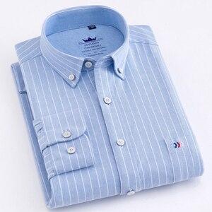 Image 3 - 2020 Chất Lượng Cao Nam Áo Sơ Mi Dài Tay 100% Cotton Oxford Rửa Sọc Cổ Trang Bị Mỏng Phù Hợp Với Áo Sơ Mi Dành Cho Nam