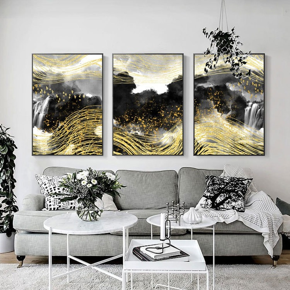 Abstract Golden Flying Bird Canvas Painting New Chinese Style Gold Foil Line Zen Black and White Landscape Pictures Home Decor