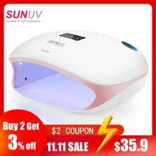 SUNUV SUN4S/4 lámpara para uñas, secador de uñas LED UV de 48W para curado de geles y esmalte con Sensor inteligente, equipo de salón de manicura