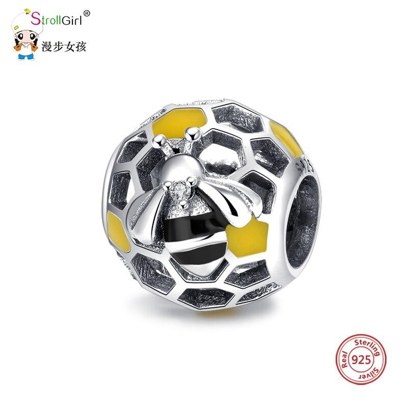 StrollGirl 100%925 sterling silver hollow cute bee bead with yellow Enamel charm fit Pandora bracelet women fashion jewelry gift