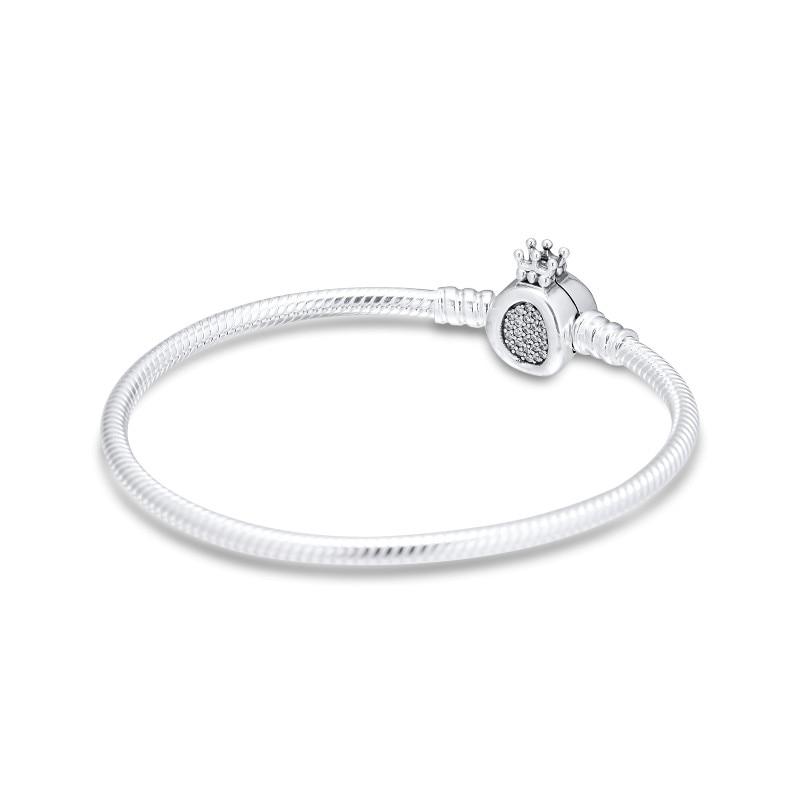Cz claro coroa o fecho suave cobra corrente pulseiras para as mulheres diy fazendo 925 prata esterlina jóias encantos pulseiras 2019 novo