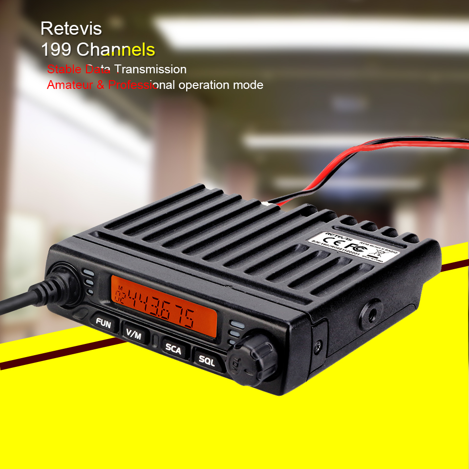 Mini Mobile Radio RETEVIS RT98 UHF ( or VHF ) 15W 199CH Car Walkie Talkie Ham Radio LCD