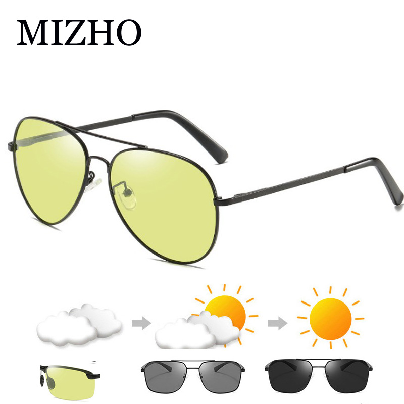 MIZHO Photochromic Polarized Sunglasses Women Yellow Anti Blue Light Glasses Men Look At Phone Blocking Glare Computer Eyewear