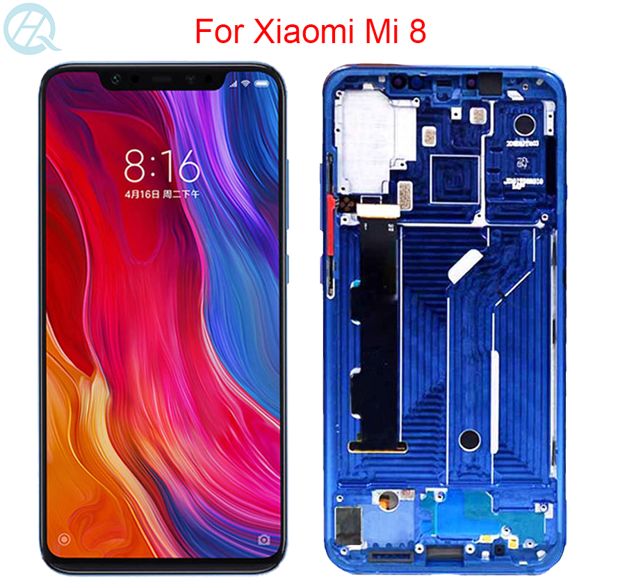 Original AMOLED For Xiaomi Mi 8 LCD With Frame 6.21