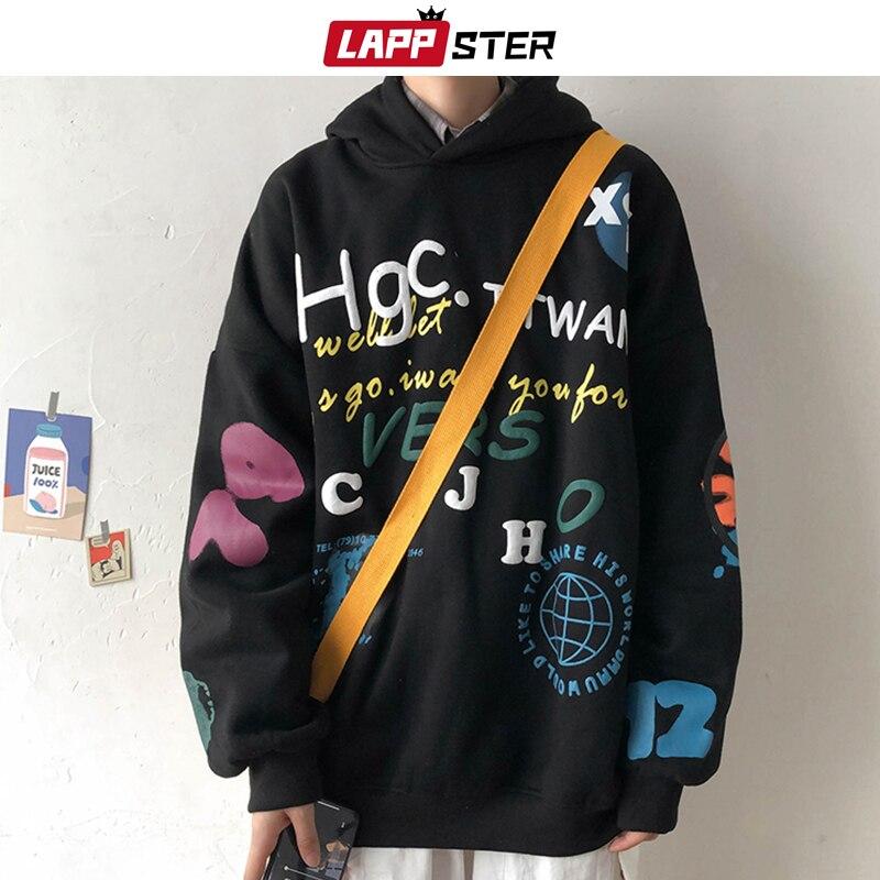 LAPPSTER Men Casual black Korean Sweatshirts 2020 Fleece Mens Japanese Streetwear Hooded Hoodie Harajuku Hip Hop Clothing