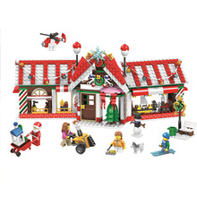 492pcs New Winter Holiday Red House 11093 DIY Model Building Kit Blocks Gifts Children Kids Bricks Compatible With toy 945pcs creator expert winter holiday toy shop 39015 diy model building kit blocks gifts children toys compatible with lego