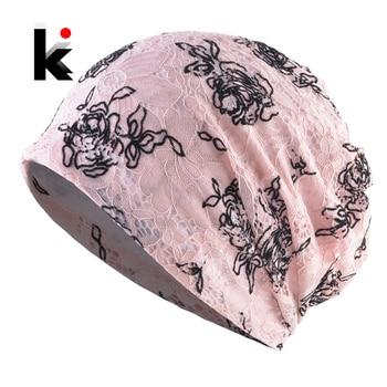 Ladies Beanie Hat Knitted Lace Flower Hats Women Spring Summer Skullies Beanies Solid Color Headwear Bonnet Female Gorras Beanie 1
