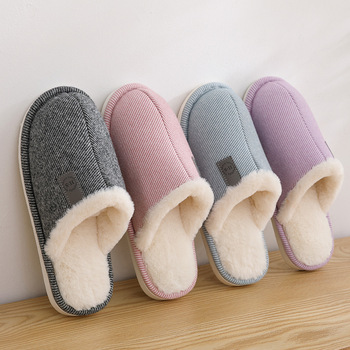 Men And Women Cotton Slippers Women's Autumn Winter Plus Velvet Warm Couple Home Fur Wool Slippers Home Shoes Cotton Slippers millffy wool slippers home package with comfortable men and women couple fur large size shoes mother pregnant women shoes