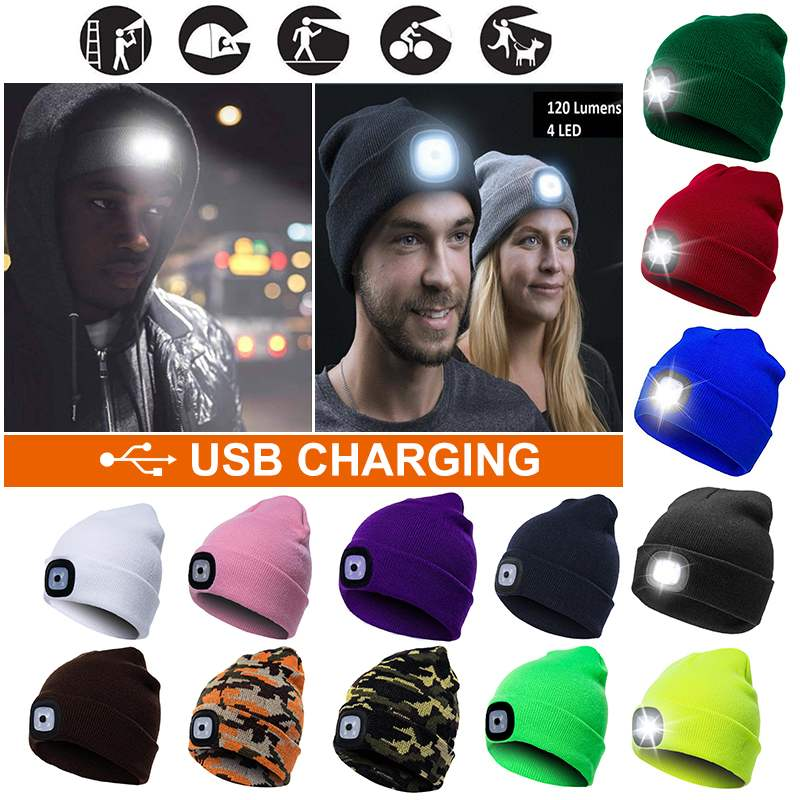 Winter 2 In 1 Warm Beanies Gorro With Night Light Woolen Caps LED Lighting Caps Portable Outdoor Camping Running Headlamp