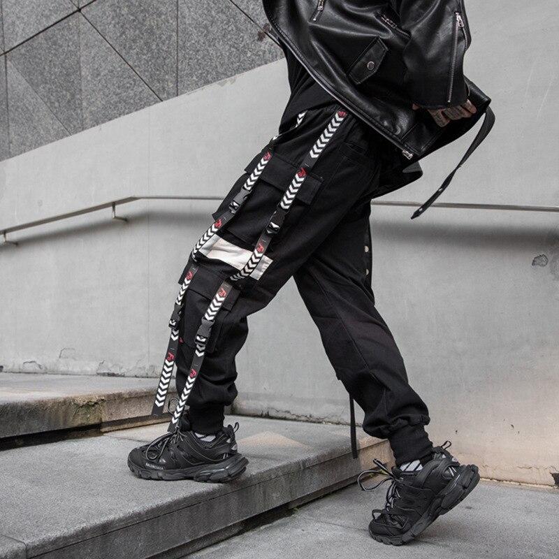 Joggers pantalons de survêtement hommes rubans boucle épissure lâche décontracté noir Cargo pantalon homme Streetwear Hip Hop Punk gothique Harem pantalon