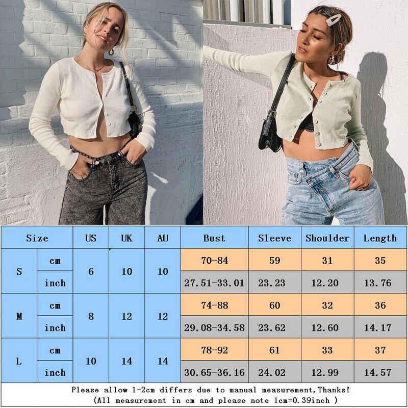 Musim Gugur Wanita Korea Fashion Sweter Sexy Lengan Panjang Terbuka Depan Tombol Lebih Tinggi Merajut Cardigan Tanaman Top Pendek Kardigan Sweater