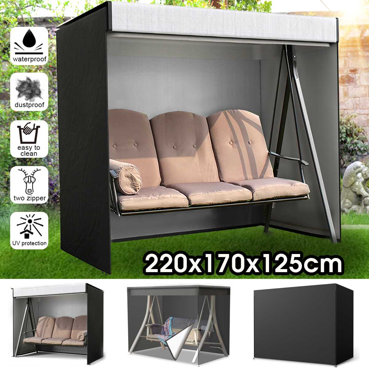 3 lugares swing chair capa de chuva