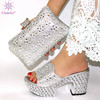 Black Color Matching Women Shoe and Bags Set Decorated with Rhinestone African Shoe and Bag Set for Party In Women Italy Shoes 2