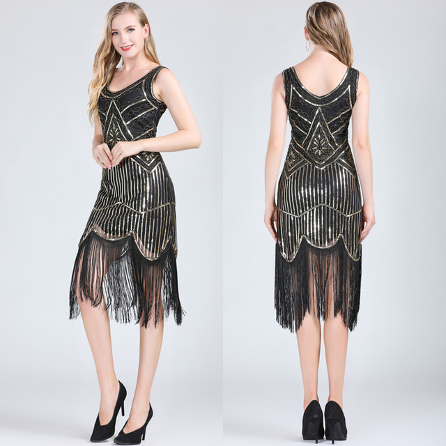 Black and gold 1920s dress for women