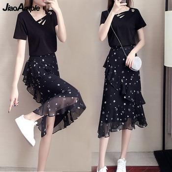 Women 2021 Fashion Black Clothing Set Korean Girls Sweet Star Short Sleeve Tops Skirts Suit Student Summer Leisure Joker Dress 1