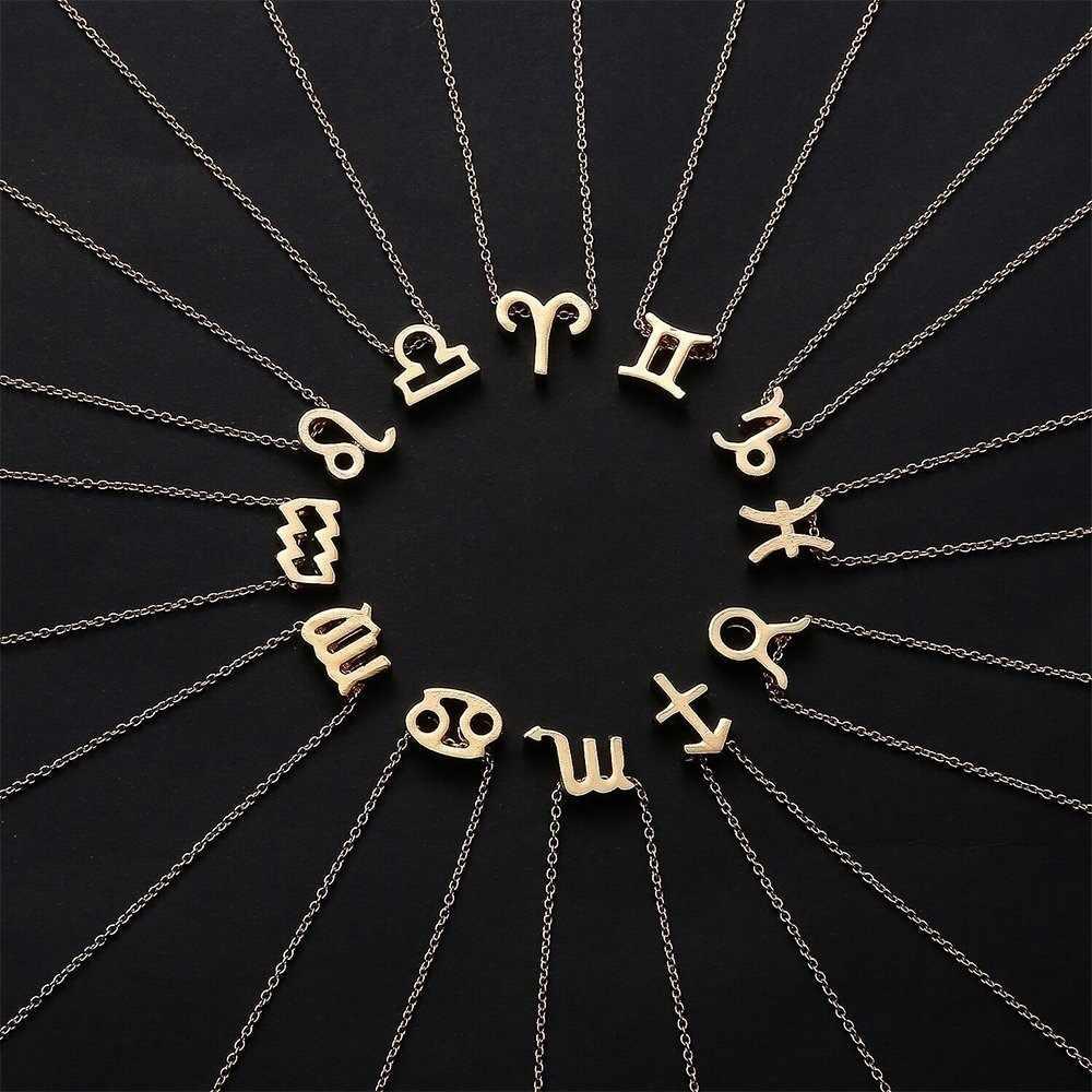 QIAMNI ราศีกันย์ราศีตุลย์ราศีพิจิกราศีธนู Capricorn Aquarius Zodiac สร้อยคอจี้ 12 Constellation ป้ายดาวสร้อยคอของขวัญ