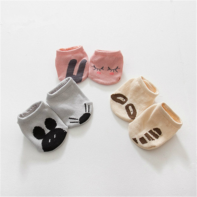 Spring Autumn Children's Socks Owl Boys Short Socks Anti-slip Newborn Socks Kid Cotton Clothes For Girls Funny Cartoon