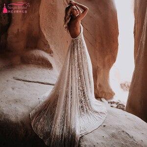 Image 2 - Dark Nude Lining Lace Wedding Dresses Modern Plunge V Neck Romantic Bridal Gowns Chic Vestido De Noivas ZW243