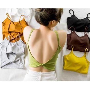 Mujeres Sexy sin espalda giro nudo camisola verano Bight de Color sólido Camiseta de tirantes con relleno Casual básico ajustado ajuste Honda chaleco ropa
