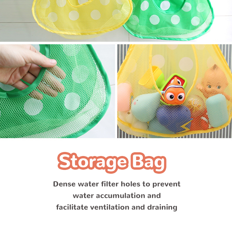 Baby Bath Toys Cute Duck Frog Mesh Net Toy Storage Bag Strong Suction Cups Bath Game Bag Bathroom Organizer Water Toys for Kids 2