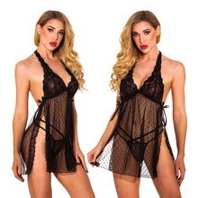 Sexy Lingerie Hot Woman Porno Costumes Erotic Black Underwear Lace Teddy Lenceria Sexi Mujer Dress Female Erotic Sleepwear