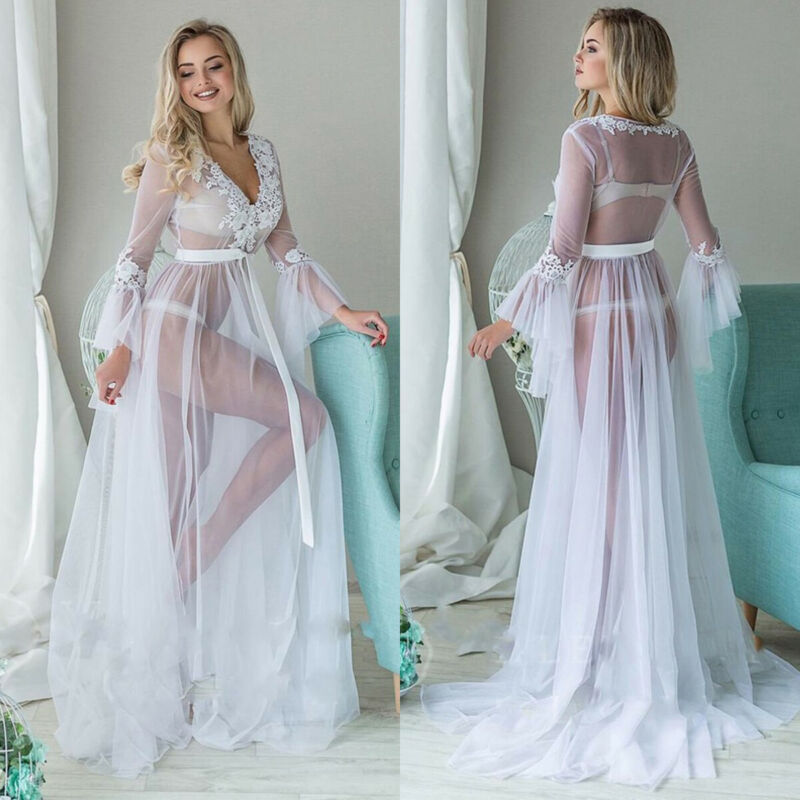 Women Dress White See-through Mesh White Solid Lace Perspective Kimono Robe Dressing Gown Night Bathrobe Sleepwear