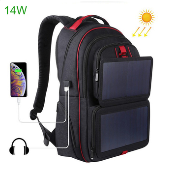 14W Solar Backpack Casual Travel Outdoor Computer Phone USB Charging Bag Solar Powered Designer Bagpack Solar Charger Daypacks 1