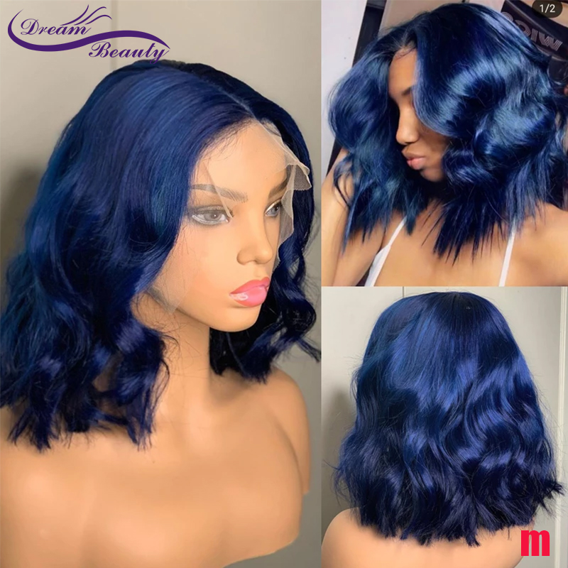Blue Colored 180% Lace Front Human Hair Wigs 13X6 Pre Plucked Short Bob Wavy Wig Brazilian Remy Hair Bleached Knots Dream Beauty