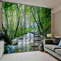 Современные 3D шторы с лесом на окно, Затемненные отвесные шторы для гостиной, спальни, интерьерные декоративные драпы с водопадом
