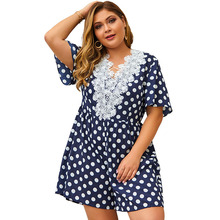 цена на Summer Dot Printed Playsuits Women Lace Patchwork Dark Blue Loose Pants Short Sleeve Deep V-Neck Lacing Playsuits Ladies