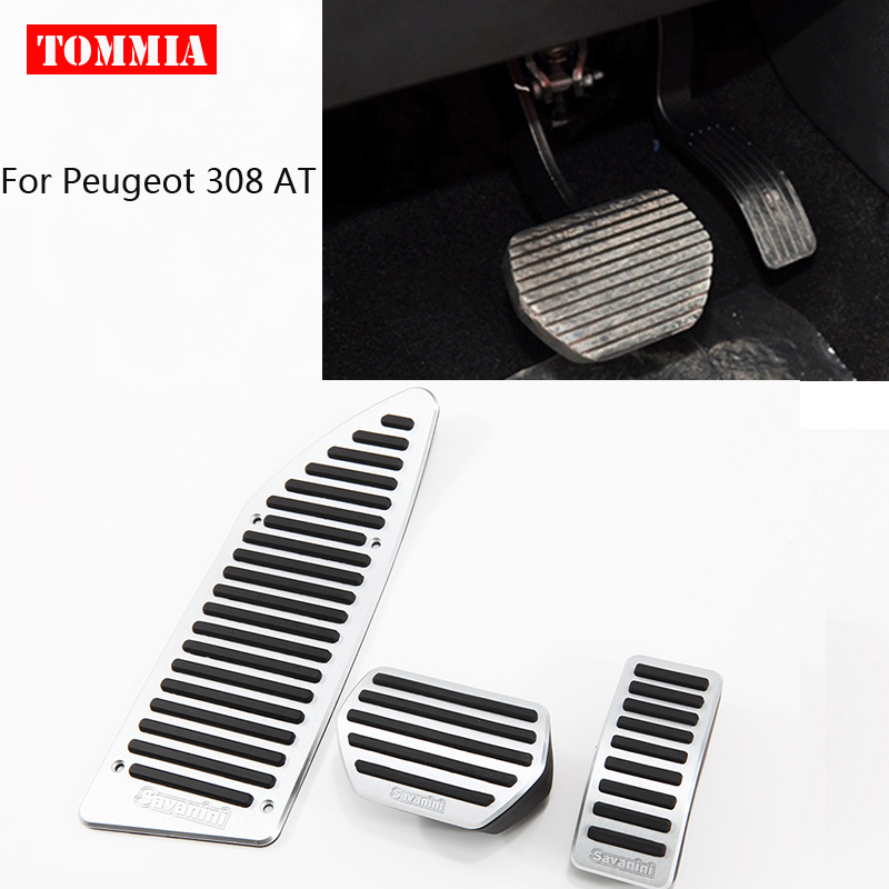 tommia For <font><b>Peugeot</b></font> <font><b>308</b></font> AT MT 2012-2014 <font><b>Pedal</b></font> Cover Fuel Gas Brake Foot Rest Housing No Drilling Car-styling image