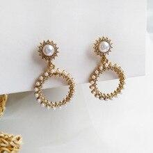 LATS Japan Korea Sweet Cute Pearl Earrings for Women Sunflower Dangle Earrings 2020 Brincos Round Earings Fashion Jewelry fashion sweet shell round dangle earrings