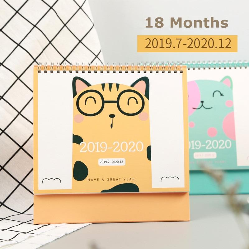 2020 Adorable Cat Chinese Ancient Style Calendar Cartoon Desk Calendar Daily Schedule Planner 2019.07-2020.12