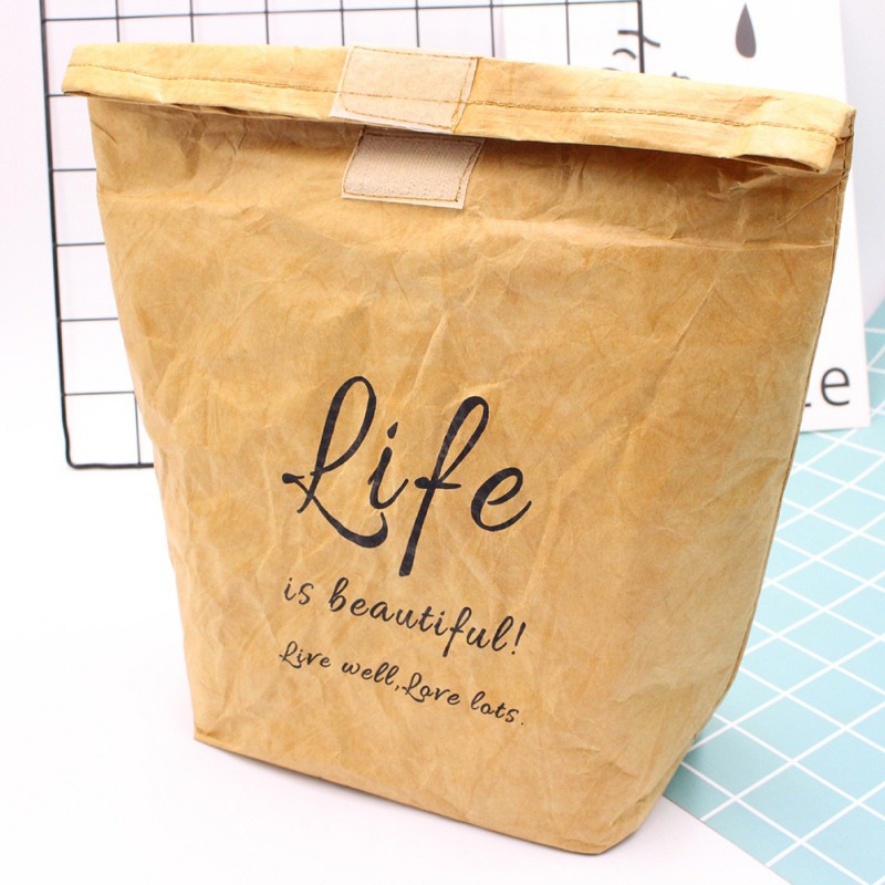 Waterproof Kraft Paper Bento Box Holder Pouch With Aluminum Film Insulated Freezable Reusable Lunch Bag For Work Picnic School