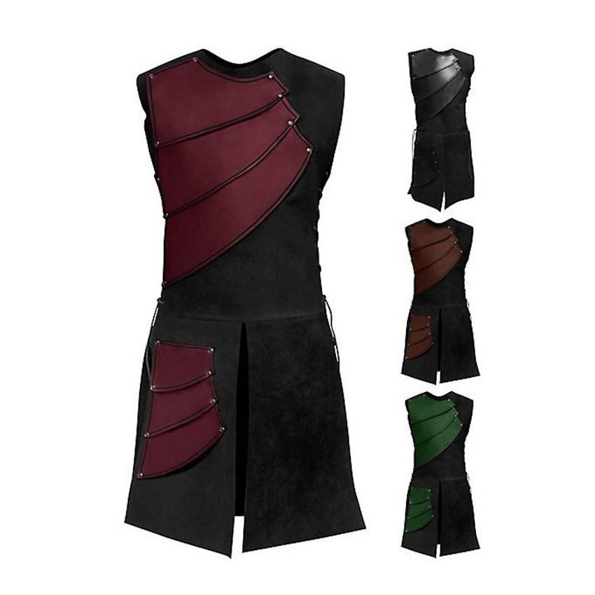 Halloween Adult Man Sleeveless Medieval Cosplay Costumes Bandage Knight Ranger Middle Ages Patchwork Blending Jacket Clothing