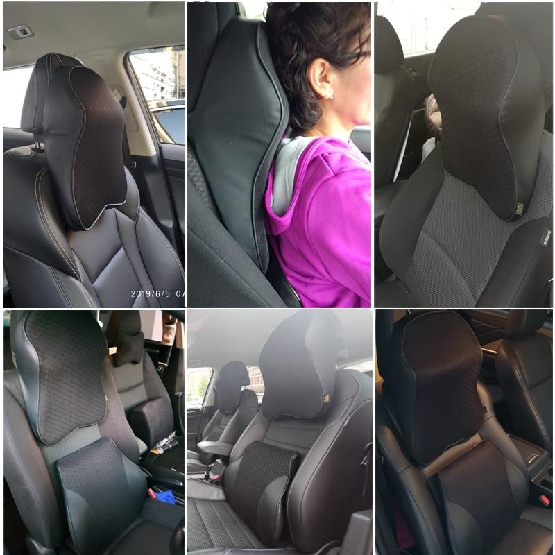 Universal 3D Memory Foam Warm PU Leather Car Seat Cushion Neck Pillow 5