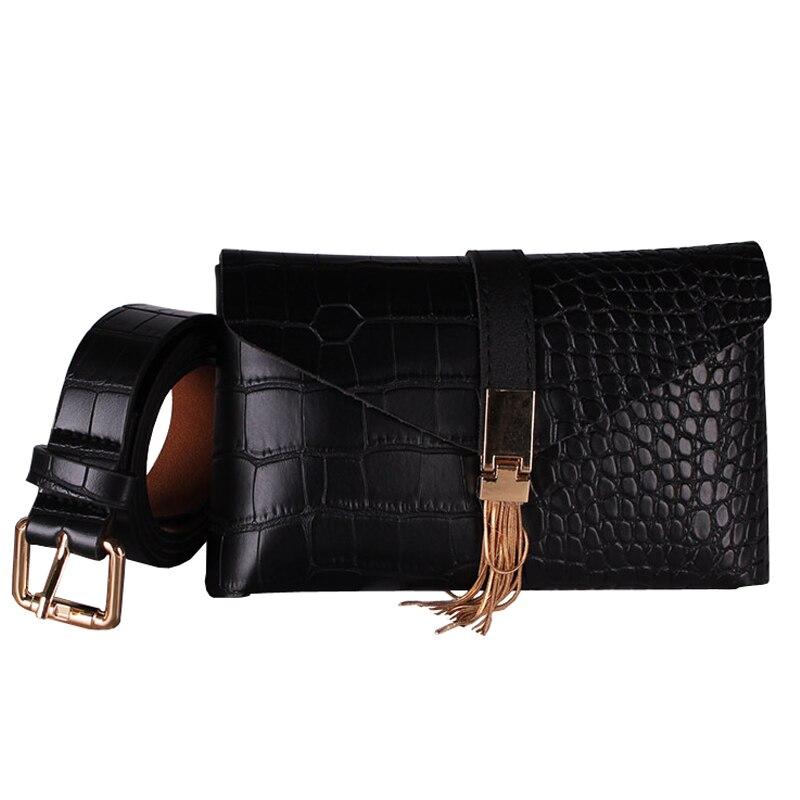 New Fashion Soft Leather Belt Bag For Women Luxury Tassel Ladies Black Waist Bags Phone Pocket Detachable Belt Fanny Packs G141