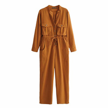 Casual Loose Jumpsuits Women One Piece Outfits Long Sleeve Front Long Buckle Pants Sexy Silm Female Rompers with Pocket panel cottong long sleeve front pocket tee
