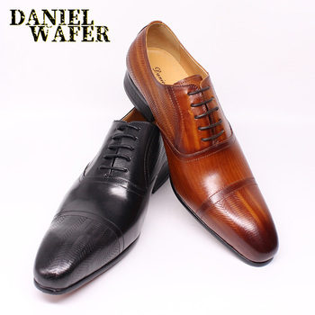 LUXURY GENUINE LEATHER SHOES HANDMADE BROWN BLACK CAP TOE LACE UP POINTED TOE MEN FORMAL DRESS OFFICE WEDDING LEATHER SHOES MEN northmarch new brand genuine leather men oxfod shoes lace up casual business wedding shoes men pointed toe comfort shoes