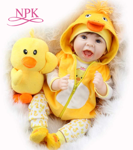55CM original NPK reborn baby doll lifelike newborn baby duck dress set lovely smile face weighted doll rooted hair high quality