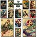 Anime Dämon Slayer Kimetsu keine Yaiba Kühlen Retro Poster Drucke Kraft Papier Wand Art Home Room Decor