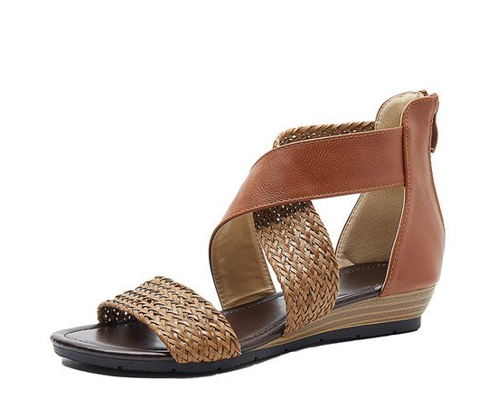 Women Shoes Sandals Summer Low Heel Shoes PU Leather Gladiator Luxury Shoes Women Designers Zapatos De Mujer YK024