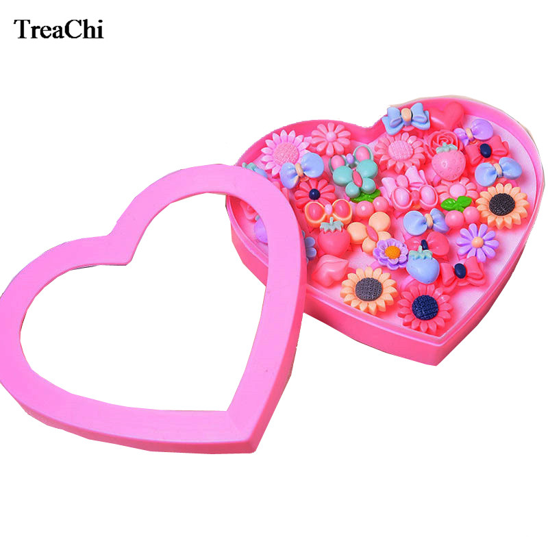 36pcs/lot Lovely Children Jewelry WithAccessories Storage Box Cute Cartoon Children's Ring Set Little Girl Play Or Birthday Gift